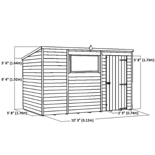10ft x 6ft Overlap Pent Wooden Flat Roof Storage Shed ...