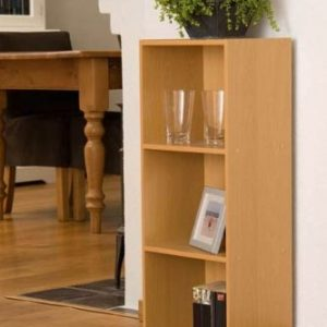 3-Tier-Beech-Finish-Wooden-Bookcase-Three-Shelf-Storage-Unit-795-x-30-x-235cm-0