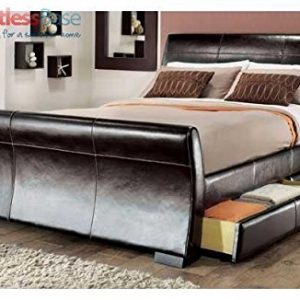 4ft6-Double-size-leather-sleigh-bed-with-storage-4X-drawers-Brown-0