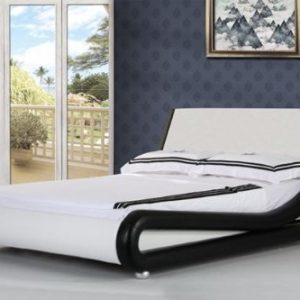 4ft6-Italian-Designer-Faux-Leather-Double-Mallorca-Bed-Frame-in-BLACK-AND-WHITE-0