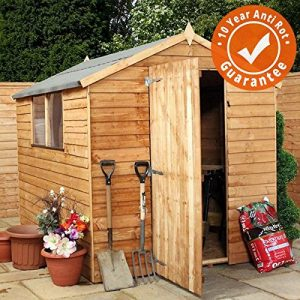 8-x-6-Overlap-Apex-Wooden-Garden-Shed-Single-Door-Felt-Included-By-Waltons-0