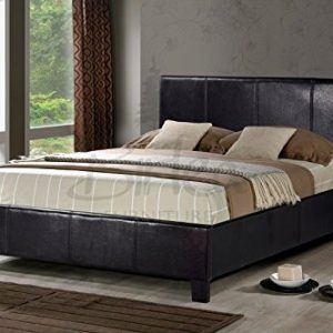 Brown-Faux-Leather-Double-Bed-Frame-4FT6-0