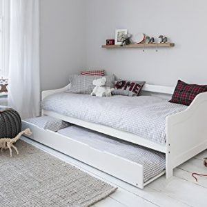 Day-Bed-Single-Bed-with-Underbed-In-White-2-beds-in-1-0