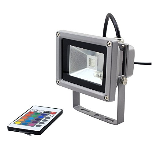 Goodia waterproof 10w rgb 16 color changing outdoor remote control led flood light house and for Remote control exterior lights