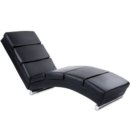 Relax-Lounger-Sofa-Black-Faux-Leather-Chaise-Longue-Spa-Furniture-0