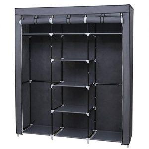 Songmics-Canvas-Wardrobe-Bedroom-Furniture-Cupboard-Clothes-Storage-Organiser-Gray-175-x-150-x-45-cm-RYG12G-0