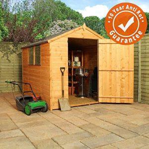 8x6-Shiplap-Wooden-Apex-Garden-Shed-Large-Single-Door-Felt-Included-By-Waltons-0