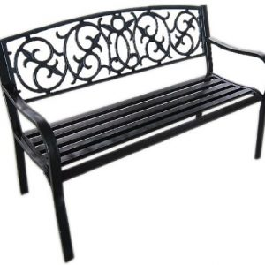 Black-Metal-Garden-Bench-Seat-Outdoor-Seating-with-Decorative-Cast-Iron-Backrest-0