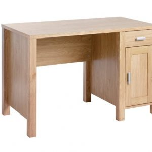 Blue-Box-Amazon-Rectangular-Workstation-in-Oak-with-Fixed-Drawer-Storage-Unit-0