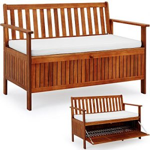 Wooden-Garden-Bench-2-Seater-With-Storage-Chest-Made-of-Hardwood-Water-Repellent-Cushion-0