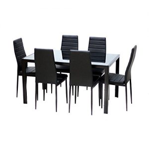 Black-Dining-Table-With-Glass-Top-and-Metal-Frame-0