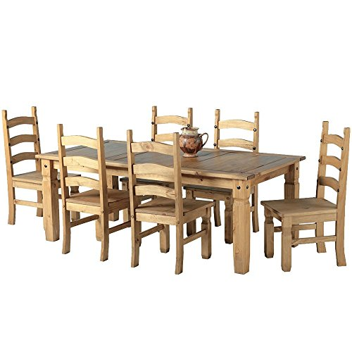 6ft Table With 6 Chairs: Mexican Corona 6ft Pine 70 Dining Table Set / 6 Chairs