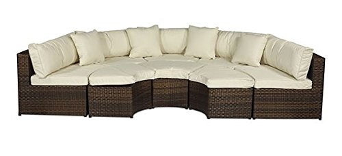 monaco large rattan sofa set semi circle with small round glass table and cushions. Black Bedroom Furniture Sets. Home Design Ideas
