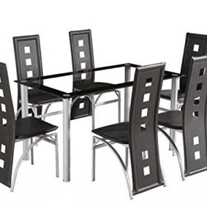 Yakoe-Dining-Room-Table-Set-And-6-Chairs-Brand-New-Faux-Leather-Black-0