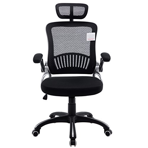 Mesh High Back Extra Padded Grey Swivel Office Chair With Head Support