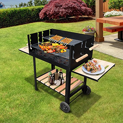 Outsunny Trolley Charcoal BBQ Barbecue Grill Patio Outdoor