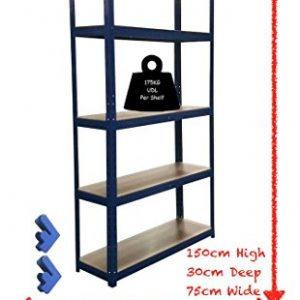 150cm-x-75cm-x-30cm-Blue-5-Tier-175KG-Per-Shelf-875KG-Capacity-Garage-Shed-Storage-Shelving-Units-5-Year-Warranty-0