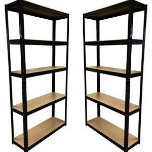 2-Bay-180cm-x-90cm-x-30cm-Black-5-Tier-175KG-Per-Shelf-875KG-Capacity-Garage-Shed-Storage-Shelving-Units-5-Year-Warranty-0