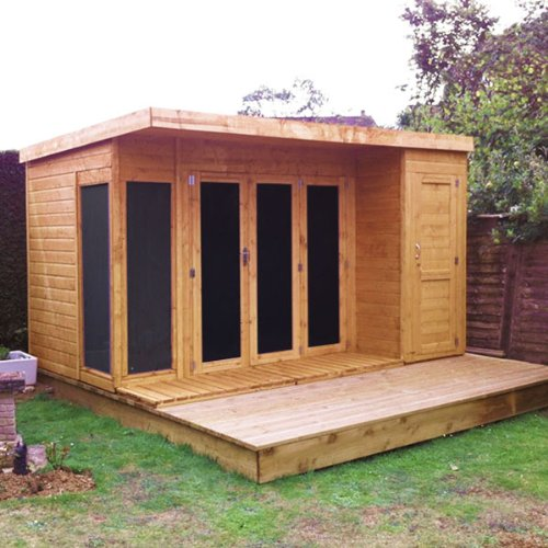 12x8 t g wooden contemporary summerhouse with side storage for Side of the house storage shed