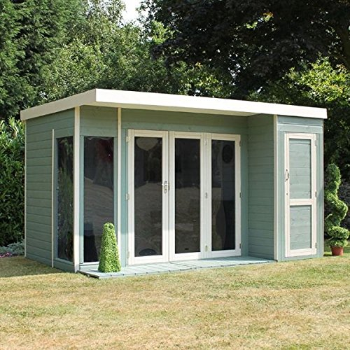 12x8 T Amp G Wooden Contemporary Summerhouse With Side Storage
