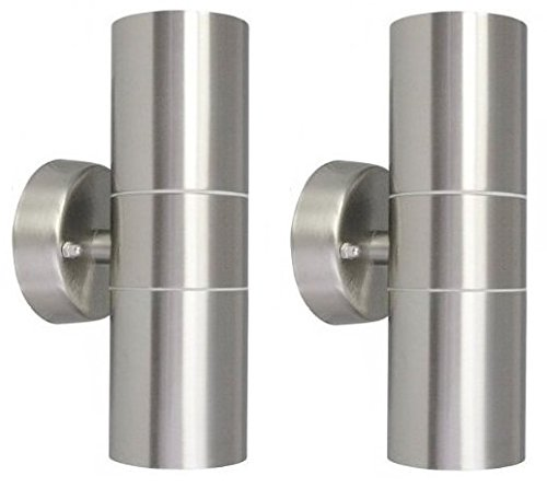 2-X-Modern-Stainless-Steel-Up-Down-Double-Wall-Spot-Light-IP65-Outdoor-Use-0