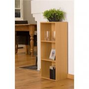 3-Tier-Beech-Finish-Wooden-Bookcase-Three-Shelf-Storage-Unit-795-x-30-x-235cm-0-0