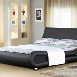 4ft6-Italian-Designer-Faux-Leather-Double-Mallorca-Bed-Frame-in-BLACK-0