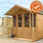 7x8-Shiplap-Wooden-Bournemouth-Apex-Summerhouse-Veranda-Double-Doors-Styrene-Windows-Felt-Included-By-Waltons-0