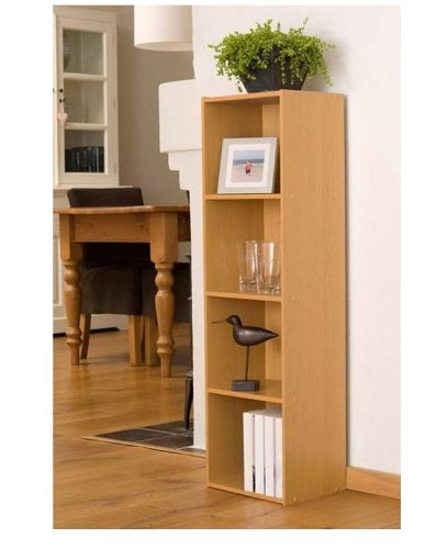 Beech-Finish-4-Shelf-Wooden-Bookcase-0