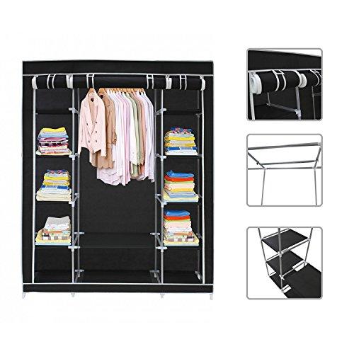 Black Canvas Fabric Wardrobe Clothes Storage Organiser