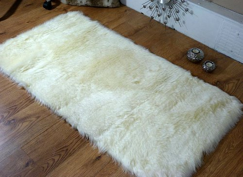 Cream-ivory-faux-fur-oblong-sheepskin-rug-70-x-140-cm-washable-0