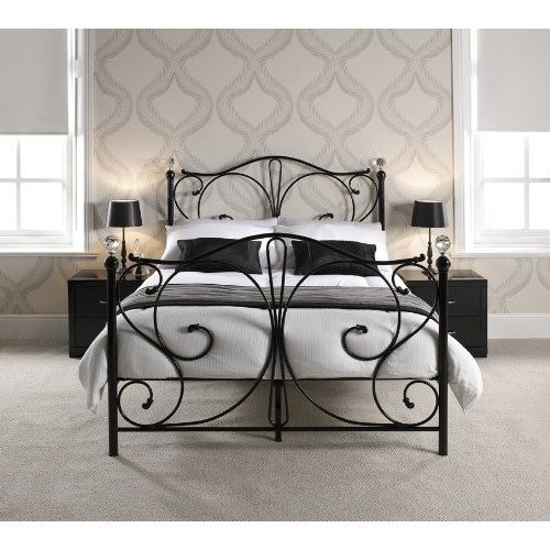 FLORENCE DOUBLE BLACK METAL BED FRAME WITH CRYSTAL FINIALS by Double ...