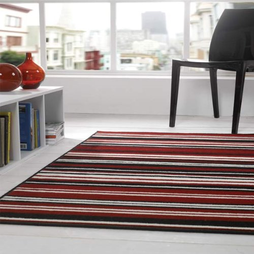 Flair Rugs Element Canterbury Striped Rug, Red/Black, 120