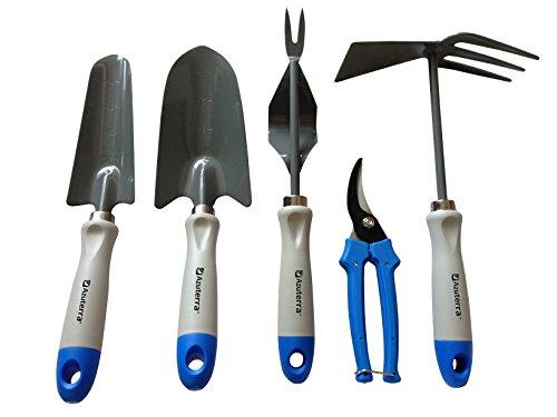 Gardening-Tools-5-Piece-Garden-Tool-Set-TrowelTransplanterWeederPruning-Shears-Double-Hoe-from-Azuterra-High-Quality-Ergonomic-Designed-for-Women-Garden-Lovers-Make-Gardening-EasyFun-Now-0
