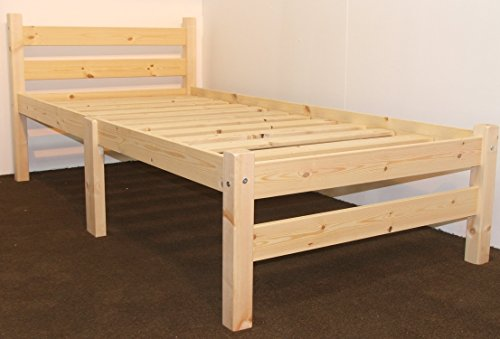 Heavy-Duty-Single-3ft-Wooden-Pine-Bed-Frame-Can-be-used-by-Adults-Strong-siderail-support-legs-included-0