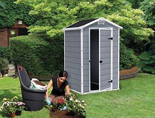keter manor vertical 4 x 3 ft resin outdoor garden storage. Black Bedroom Furniture Sets. Home Design Ideas