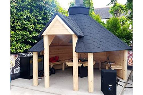 Open-Wooden-BBQ-Hut-92m2-Summer-House-Grill-Hut-Teak-House-Comes-with-Bitumen-Tiles-BBQ-GrillFire-with-Cooking-Platforms-Table-around-the-Grill-Adjustable-Chimney-3-Interior-Benches-0