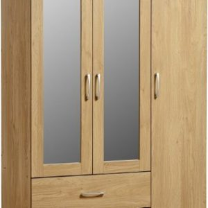 Seconique-Charles-3-Door-2-Drawer-Mirrored-Wardrobe-Oak-Effect-with-Walnut-Trim-0