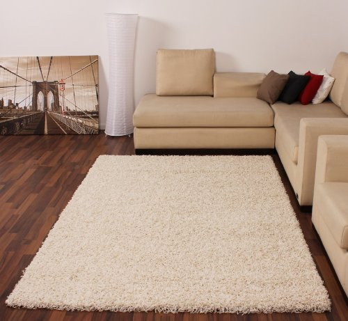 Shaggy-Rug-High-Pile-Long-Pile-Modern-Carpet-Uni-Cream-Ivory-0