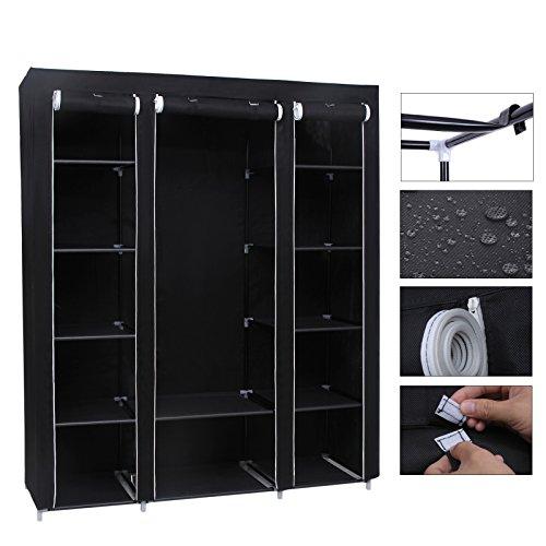 Canvas Storage Boxes For Wardrobes: Songmics Triple Canvas Wardrobe Bedroom Furniture Storage