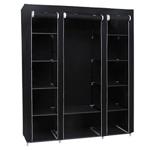 Songmics-Triple-Canvas-Wardrobe-Bedroom-Furniture-Storage-Black-175-x-150-x-45-cm-LSF03H-0