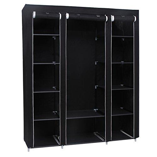 Songmics Triple Canvas Wardrobe Bedroom Furniture Storage Black 175