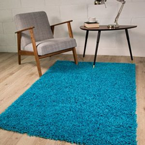 TEAL-BLUE-LUXURIOUS-THICK-SHAGGY-RUGS-7-SIZES-AVAILABLE-60cmx110cm-2ft-x-3ft7-0
