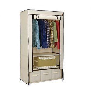 VonHaus-Canvas-Effect-Wardrobe-Clothes-Cupboard-Hanging-Rail-Storage-with-2-Shelves-3-Drawers-Beige-88-x-50-x-160cm-0