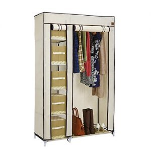 VonHaus-Double-Canvas-Effect-Wardrobe-Clothes-Cupboard-Hanging-Rail-Storage-6-Shelves-Beige-110-x-175-x-45cm-0