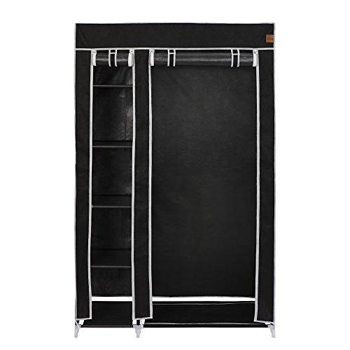 Canvas Storage Boxes For Wardrobes: VonHaus Double Canvas Effect Wardrobe Clothes Cupboard