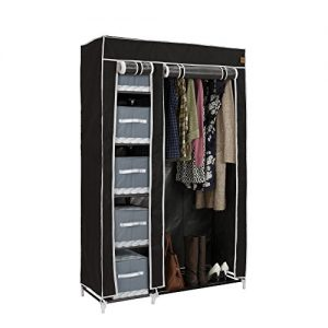 VonHaus-Double-Canvas-Effect-Wardrobe-Clothes-Cupboard-Hanging-Rail-Storage-6-Shelves-Black-100-x-175-x-45cm-0