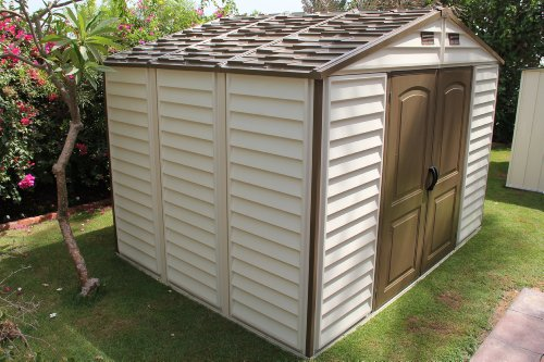... Woodside-10-x-8-Vinyl-Storage-shed-with- & Woodside 10 x 8 Vinyl Storage shed with Foundation and three fixed ...