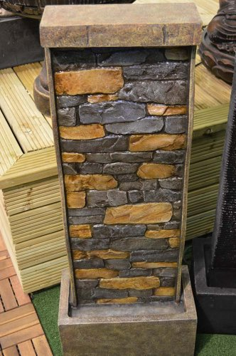 101cm Tall Stone Wall Effect Garden Water Feature With Led