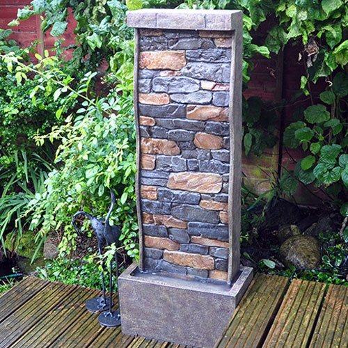 101cm-Tall-Stone-Wall-Effect-Garden-Water-Feature-with-LED-light-0